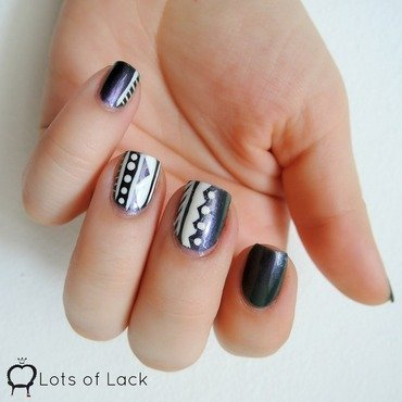 White Tribal nail art by LotsOfLack