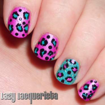 Neon Leopard Print nail art by Relle Chastain