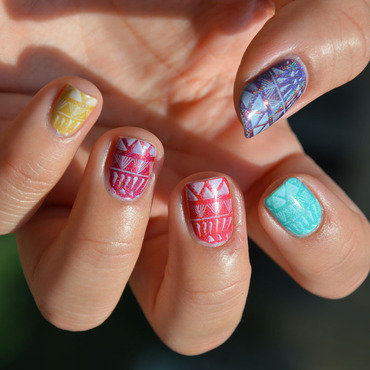 Stamping Rainbow nail art by Sweapee
