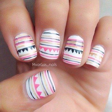 Patterned nails nail art by Massiel Pena
