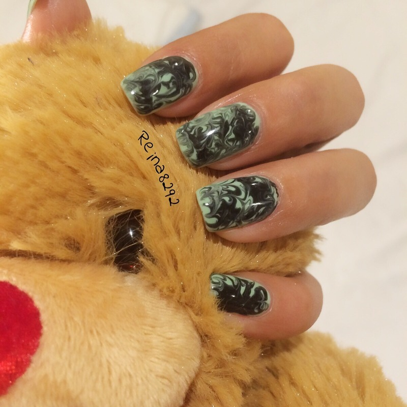 Dry Marble nail art by Reina