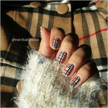 Plaid nails nail art by Mary