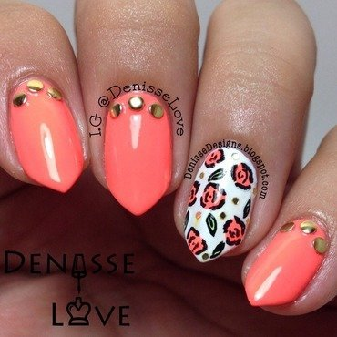 Gold & Neon nail art by Denisse Love