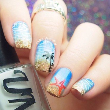 Beach inspired manicure nail art by Lou