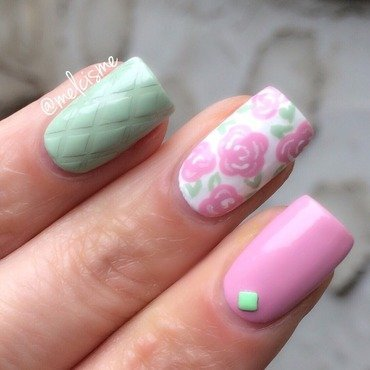 Quilted / Floral nail art by Melissa