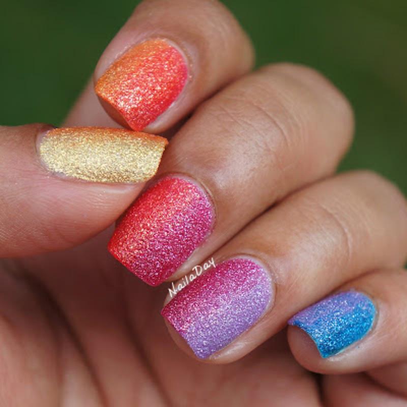 Zoya Pixie Dust Rainbow gradient nail art by Nailaday