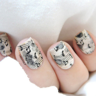 Distressed music sheet nail art by Marine Loves Polish