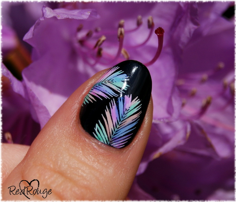 Colorful stamping palm leaves nail art by RedRouge