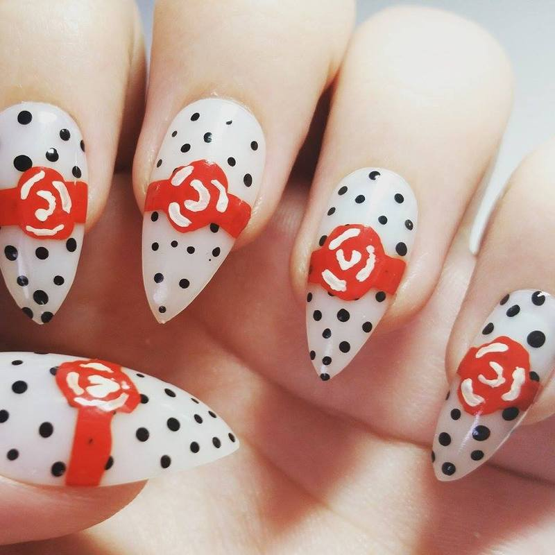 Rockabilly Rose nail art by Ellie Louise - Nailpolis: Museum of Nail Art