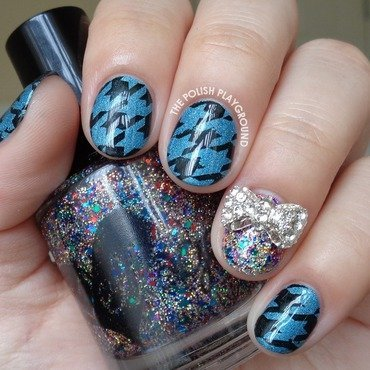 Blue and Black Houndstooth Stamping nail art by Lisa N