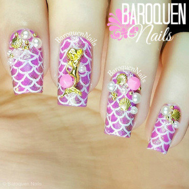 Sea Princess nail art by BaroquenNails