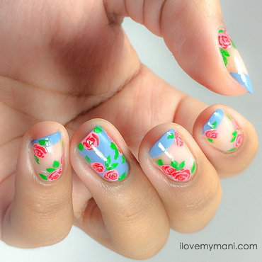 Summery Floral French Manicure nail art by Gabrielle