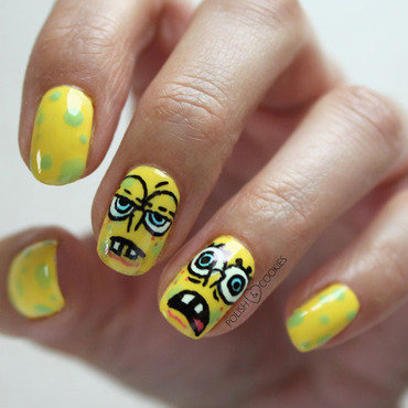 Sponge Bob Nails nail art by PolishCookie