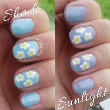 Solar Dasies nail art by Kelsey