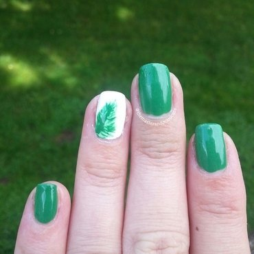 Freehand Leaves nail art by Kelsey