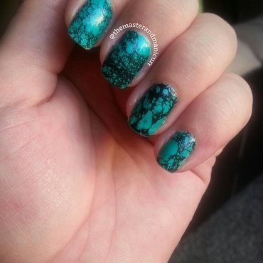 Water-spotted Turquoise nail art by Kelsey