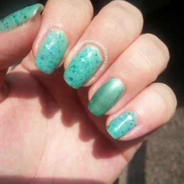 Royal Lacquer Creme de Menthe and ellagee Boo, You Whore Swatch by Kelsey