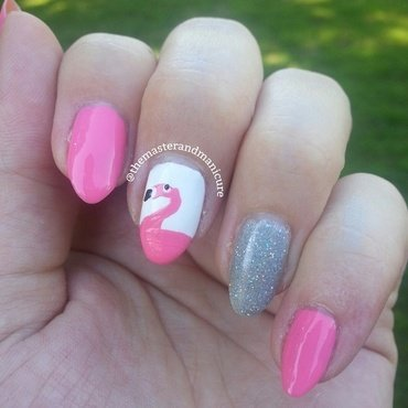 Freehand Flamingos nail art by Kelsey