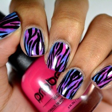 Zebra on Pink Sponging over Blue nail art by Fatimah