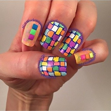 Squares nail art by Workoutqueen123