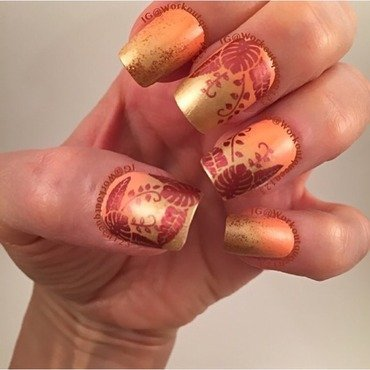Leaves  nail art by Workoutqueen123