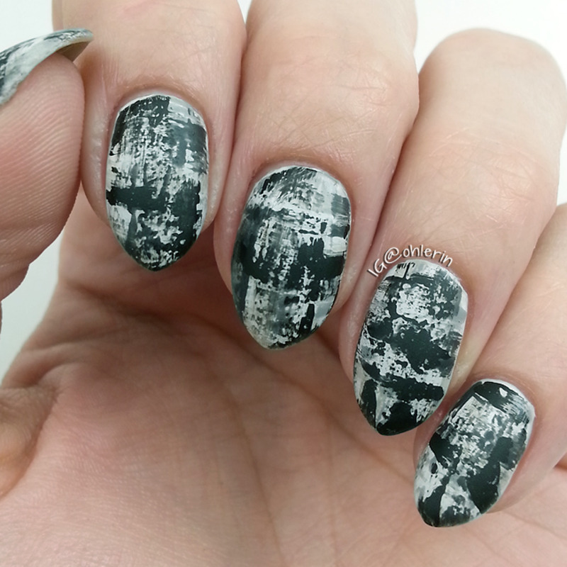 Black and white dry brush nail art by Lindsay