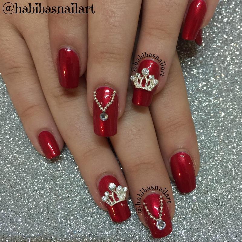 When un doubt wear red 😉 nail art by Habiba  El-kallas