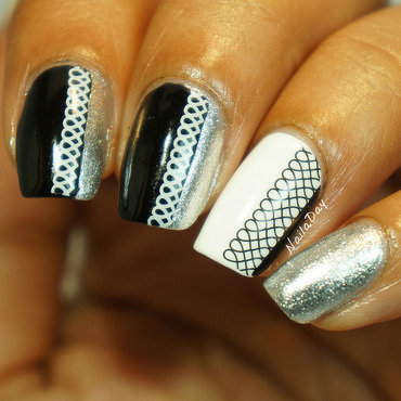 Black and white skittlette using lace decals  nail art by Nailaday