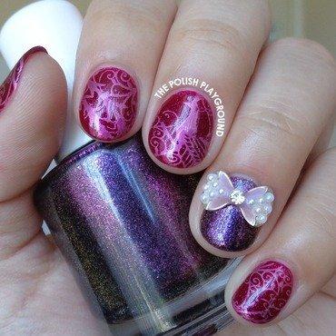 Pink Peacock Stamping Nail Art nail art by Lisa N