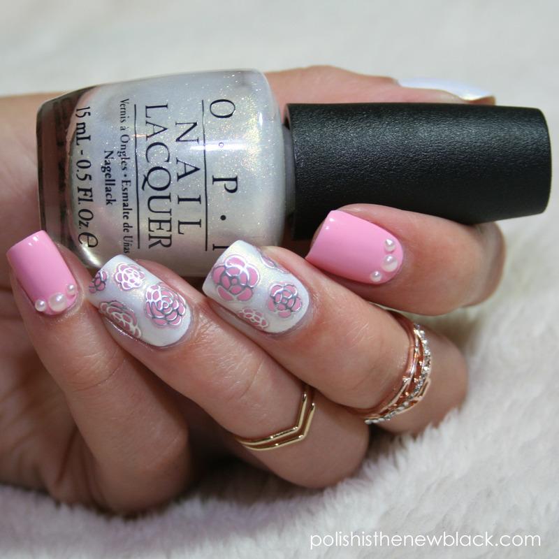 Roses & Pearls nail art by Polishisthenewblack