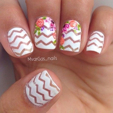 Chevrons + flowers  nail art by Massiel Pena