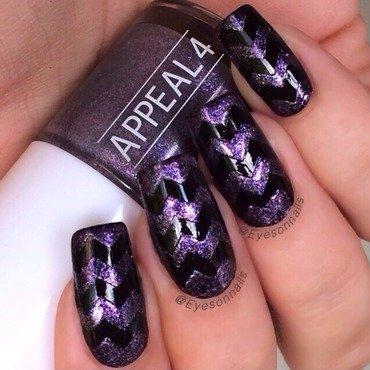 Chevrons black & purple  nail art by Virginia