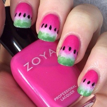 Watermelons nail art by allwaspolished