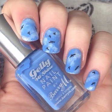 Blue Skies nail art by allwaspolished