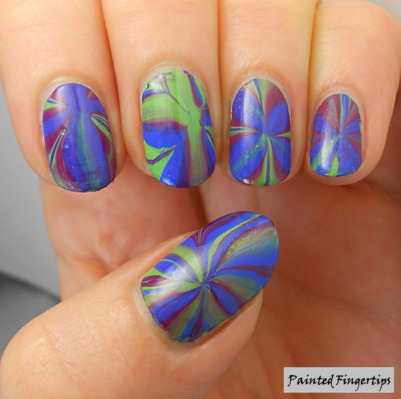 Blue, green and purple water marble nail art by Kerry_Fingertips