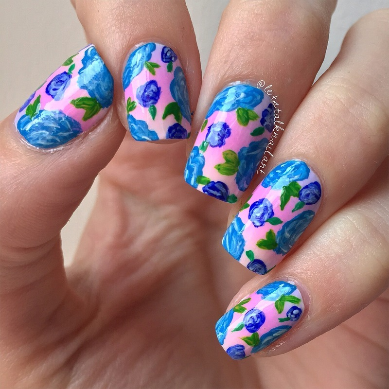 Floral on Ombre nail art by Lottie