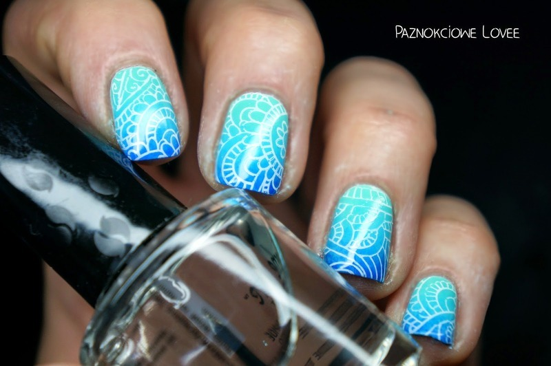 Blue lagoon stamping nail art by PaznokcioweLovee
