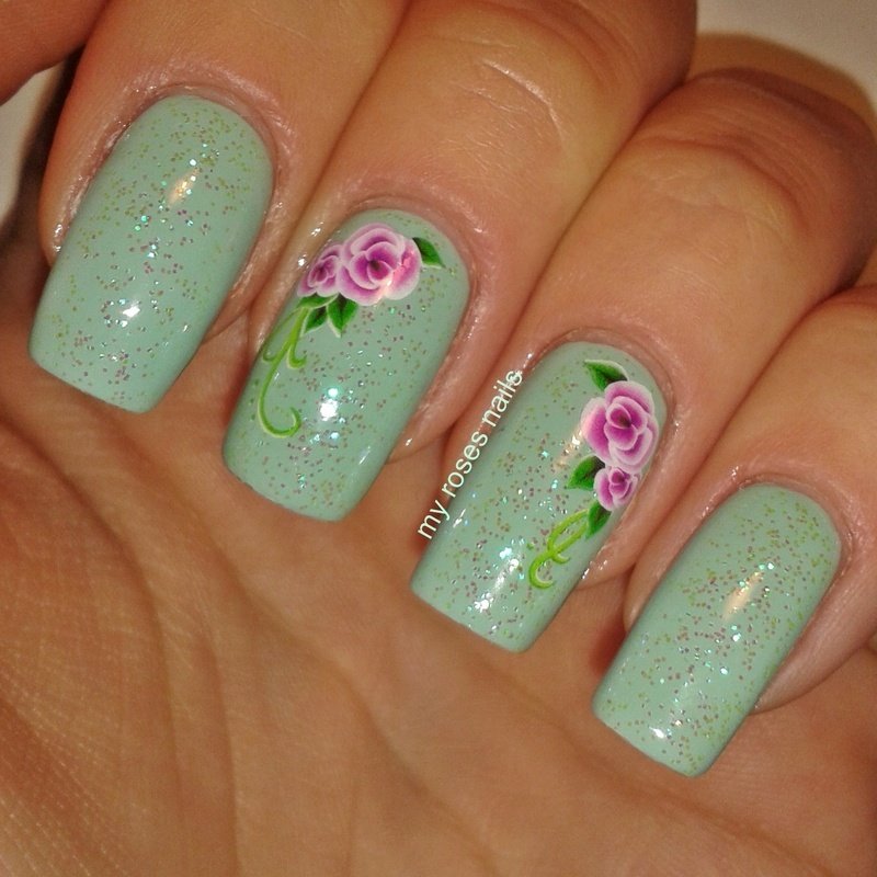 Mint with floral water decals nail art by Ewa