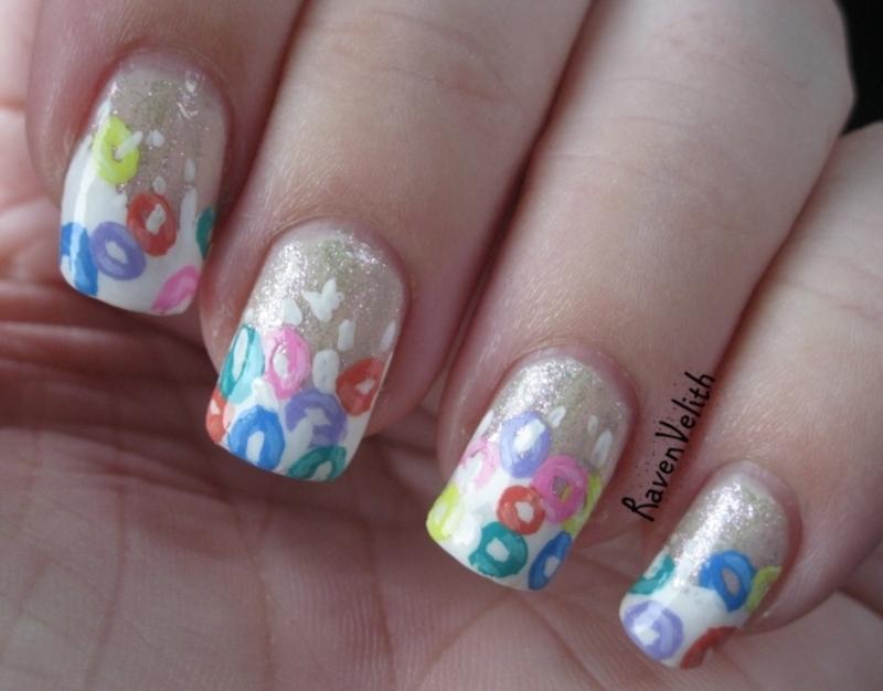 Froot Loops nail art by Lynni V.