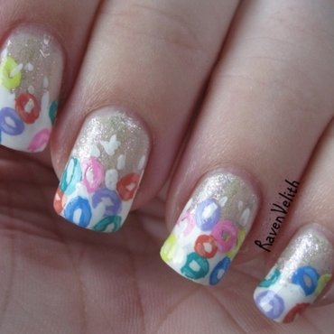 Froot Loops nail art by Lynni V.
