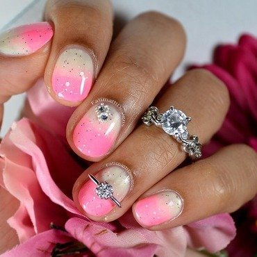 Pink Engagement nail art by Fatimah