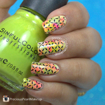 Summer Neon nail art by Pearl P.