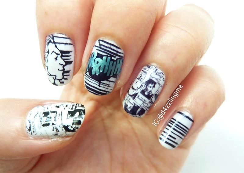Comic Nails  nail art by D4zzling Me