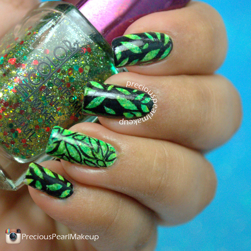 Summer Leaves nail art by Pearl P.