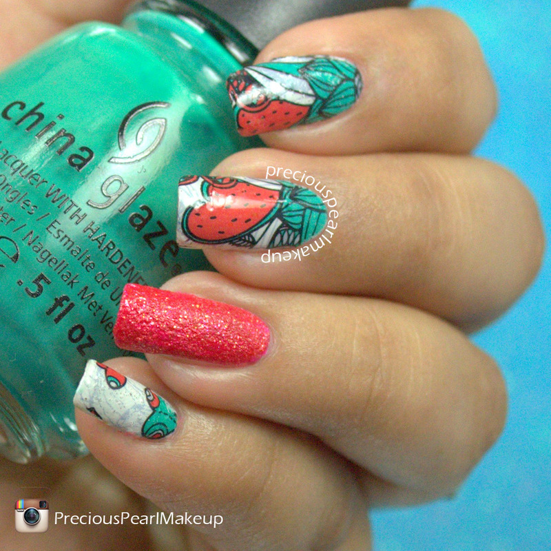 Red and Green Floral nail art by Pearl P.