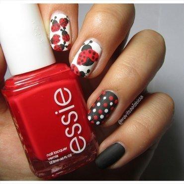 Matte ladybugs nail art by Mary