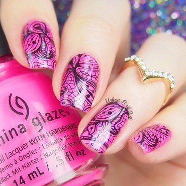 Lace Double Stamping nail art by Lou