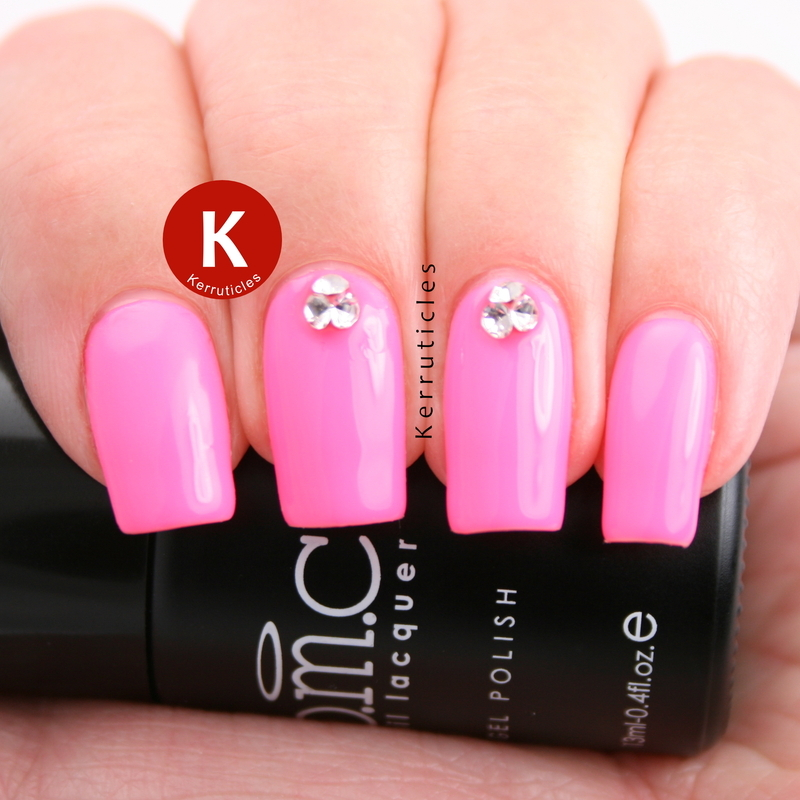 Neon pink with 3D crystal gems nail art by Claire Kerr