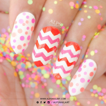 Neon Chevron Nails with Polka Dots @alpsnailart nail art by Alpsnailart