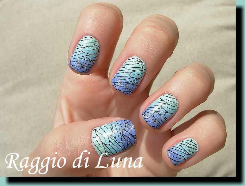 Black feather pattern on green & blue & purple gradient nail art by Tanja